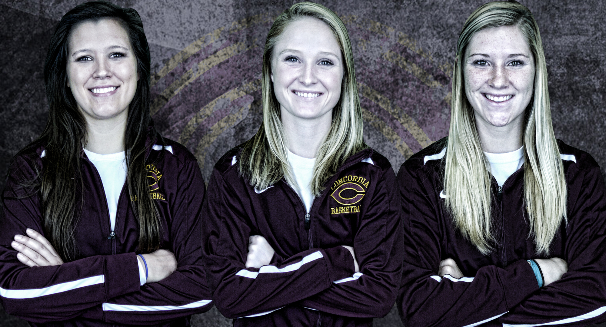 The three Cobber seniors (L-R) Crystal Amundson, Greta Walsh and Jenna Januschka were honored before the final game of the season.