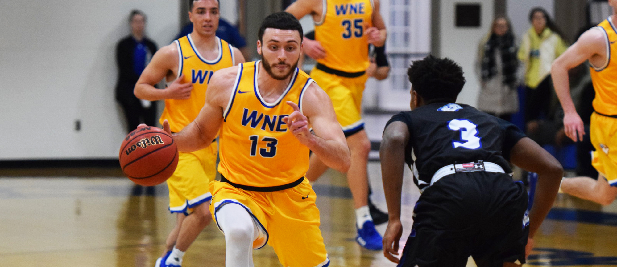 Alex Sikorski finished with 18 points and nine rebounds in Western New England's 79-67 win over Becker on Tuesday night. (Photo by Rachael Margossian)