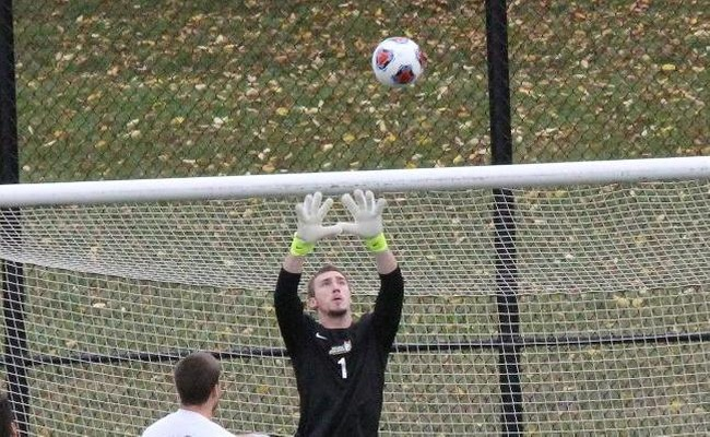 Christopher Spaulding (1) made a career-high 6 saves for Keuka on Friday
