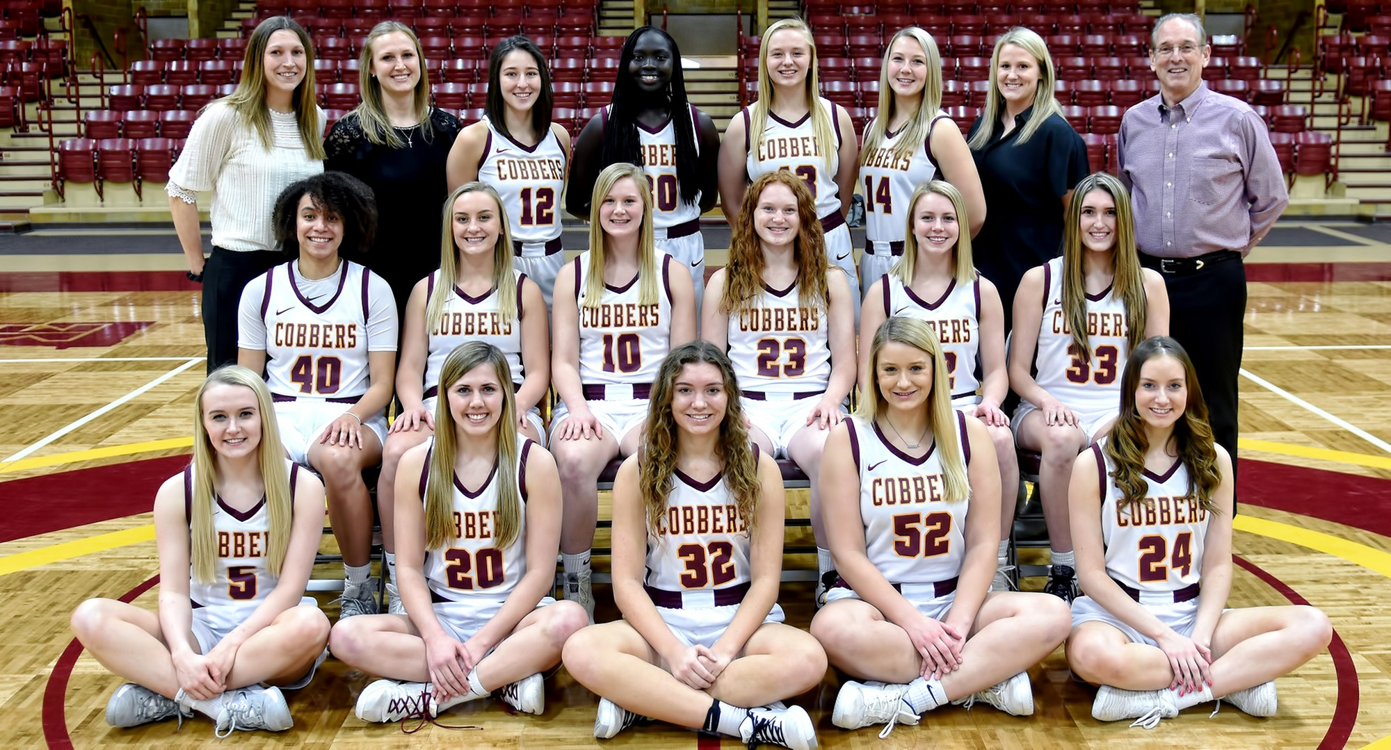 The 2020 Cobber women's basketball team