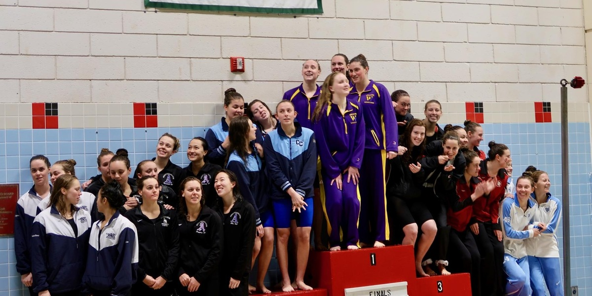 The 400-yard freestyle relay was one of three relays who earned All-NESCAC this weekend (Ronald Wimer).