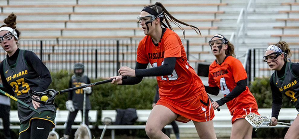 Juliette Cusano had a career-high seven goals and set a school record with 13 draw controls against Lees-McRae (photo by Chuck Williams)
