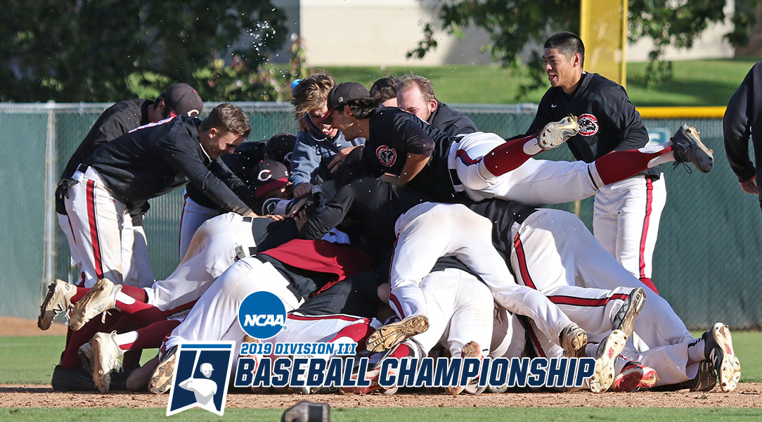 The team dogpiles after winning the NCAA Regional Championship.