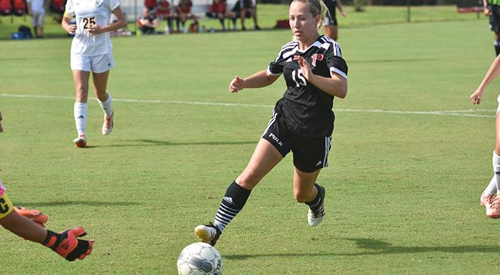 Emmalee Phillips takes a shot against Andrew College. She scored a goal in Polk State's 3-1 win. (Photo by Tom Hagerty, Polk State.)