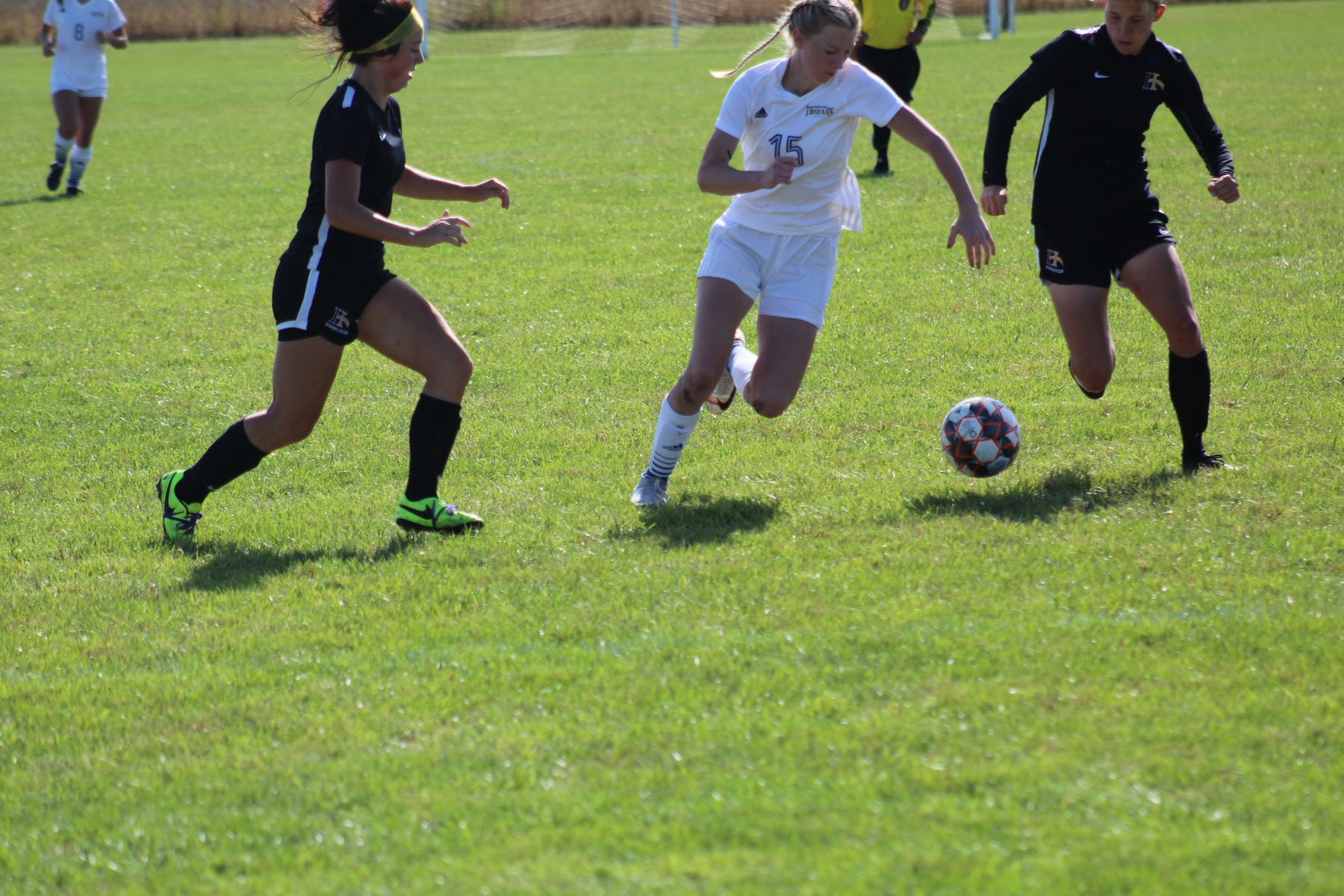 NIACC's Kasey Parish moves the ball down field in Sunday's contest against Indian Hills.