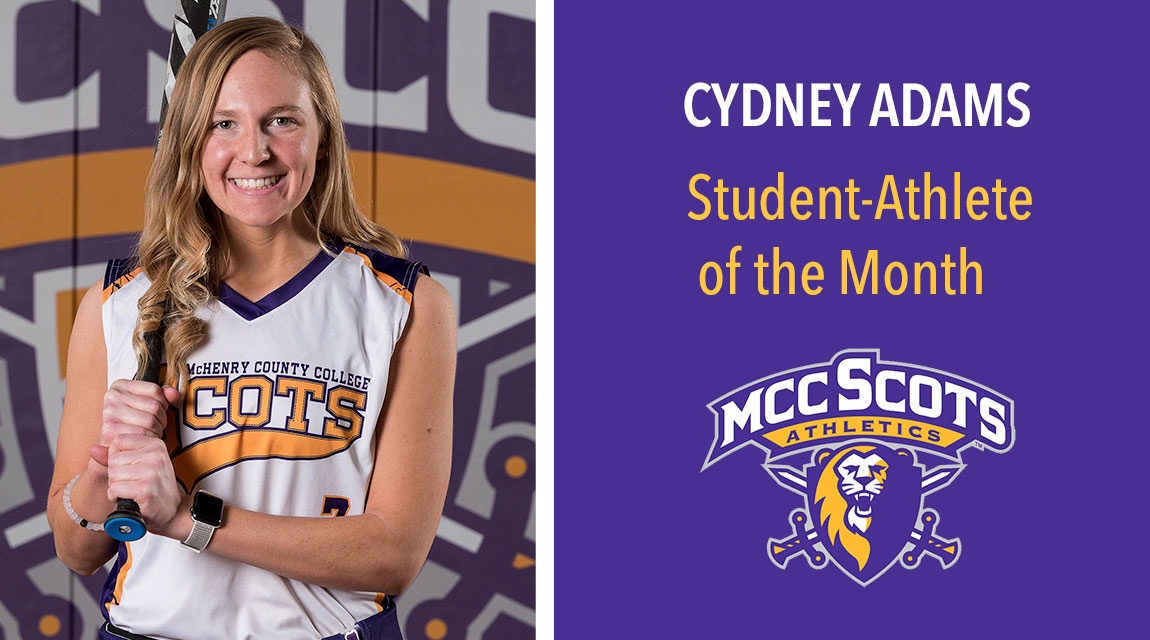 "Image of a softball player, Cyndney Adams in uniform. Text next to image states ""Cydney Adams, Student-Athlete of the Month"""