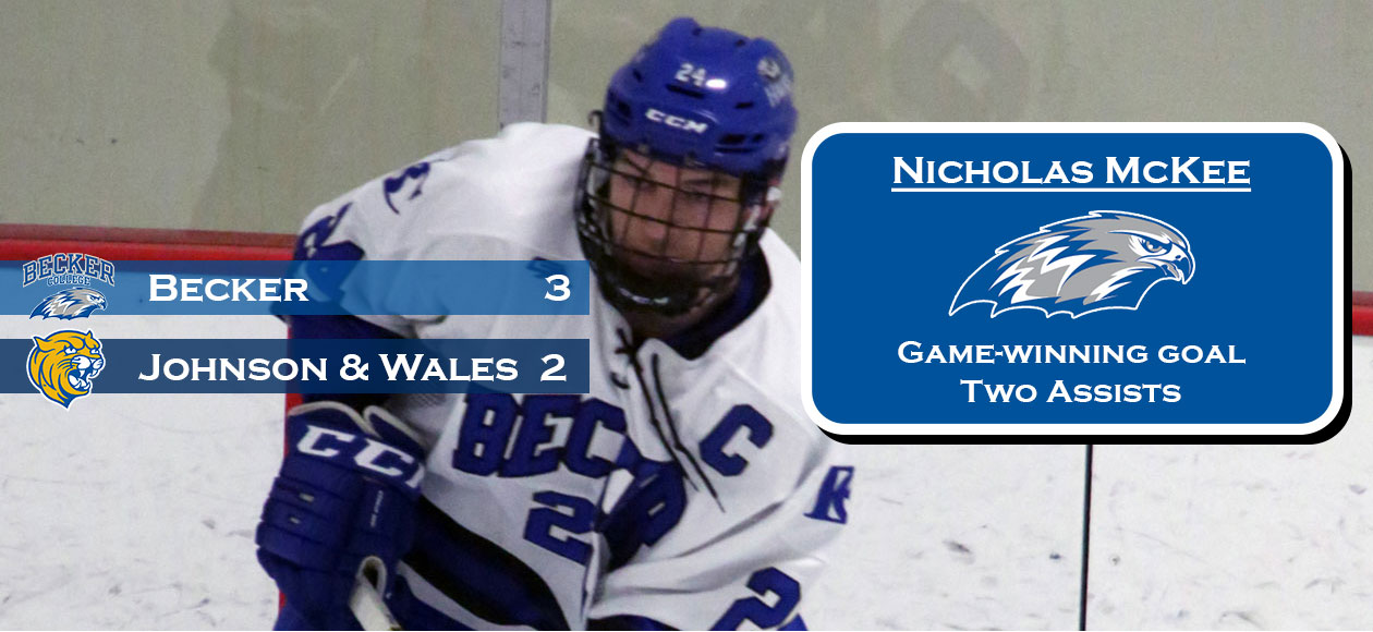 Men's Ice Hockey rallies past Johnson & Wales, 3-2