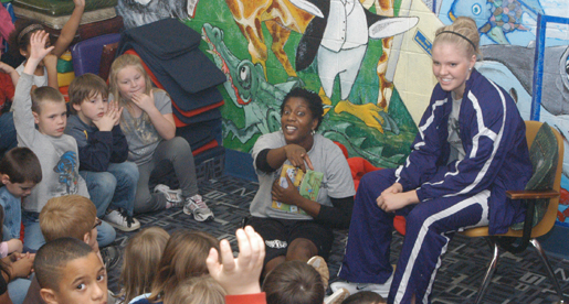 Women's Basketball pays visit to Park View Elementary School