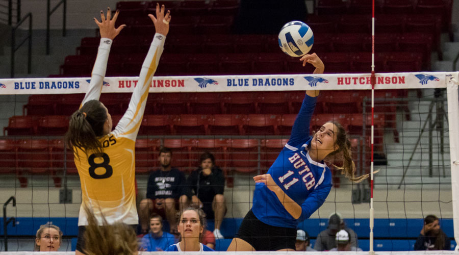 Leonie Wienkaemper had nine kills to lead the Blue Dragon Volleyball Team to a 3-0 win over Cloud County on Wednesday at the Sports Arena. (Allie Schweizer/Blue Dragon Sports Information)