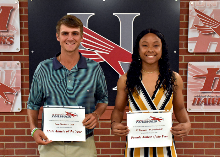 Men's golfer Drew Mathers and women's basketball player T.I. Duncan were honored as the Huntingdon Male Student-Athlete of the Year and Female Student-Athlete of the Year during Monday night's Awards Ceremony.