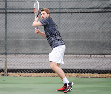Freshman Matt Prendergast won both of his matches today to help the Royals lock up a Landmark Conference tournament berth with a 7-2 victory over the Merchant Marine Academy Sunday afternoon at the Royal Courts.