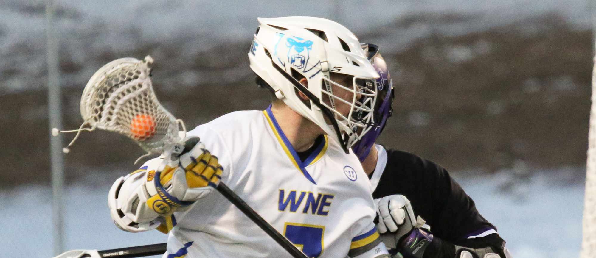 Freshman Tim Bannon totaled two goals and one assist in Western New England's 16-7 loss to No. 20 St. Lawrence on Thursday in Tampa. (Photo by Andrew Shilling)