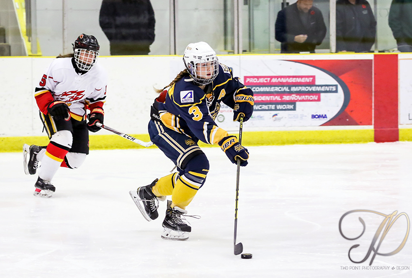 Shyla Kirwer was a big reason for the St. Albert Slash's success (two-straight national championships) and will join a Griffins team coming off two-straight ACAC Championships (Two Point Photography photo).