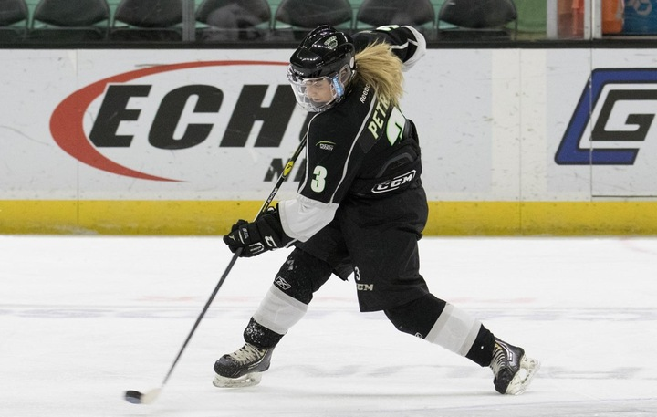 Jade Petrie (3) scored on the power play and was named the Queens player-of-the-game. Photo - Tony Hansen
