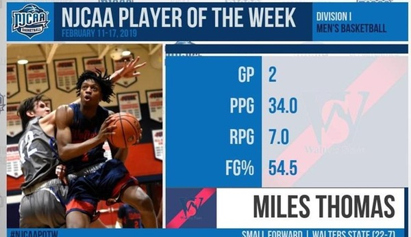 WALTER'S THOMAS NAMED NJCAA MEN'S BASKETBALL PLAYER OF THE WEEK