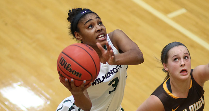 Senior Brittaney Jefferson scored her 1,000th career point in Wilmington's 59-53 win over Baldwin Wallace. (Wilmington photo/John Swartzel)