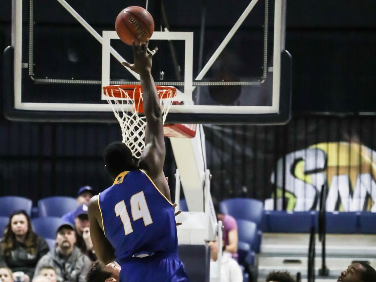 Ami Lakoju scores on a short jump hook in UCSB's 91-69 win at Montana State on Saturday afternoon. (Photo courtesy of Montana State Athletics)