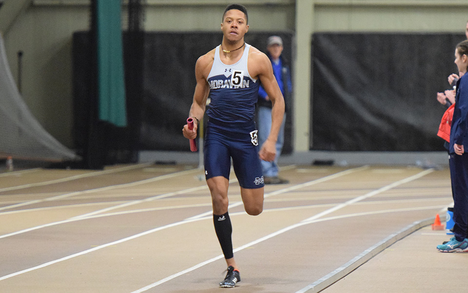 Junior Justin Beasley-Turner runs in the Moravian Indoor Invitational at Lehigh University.