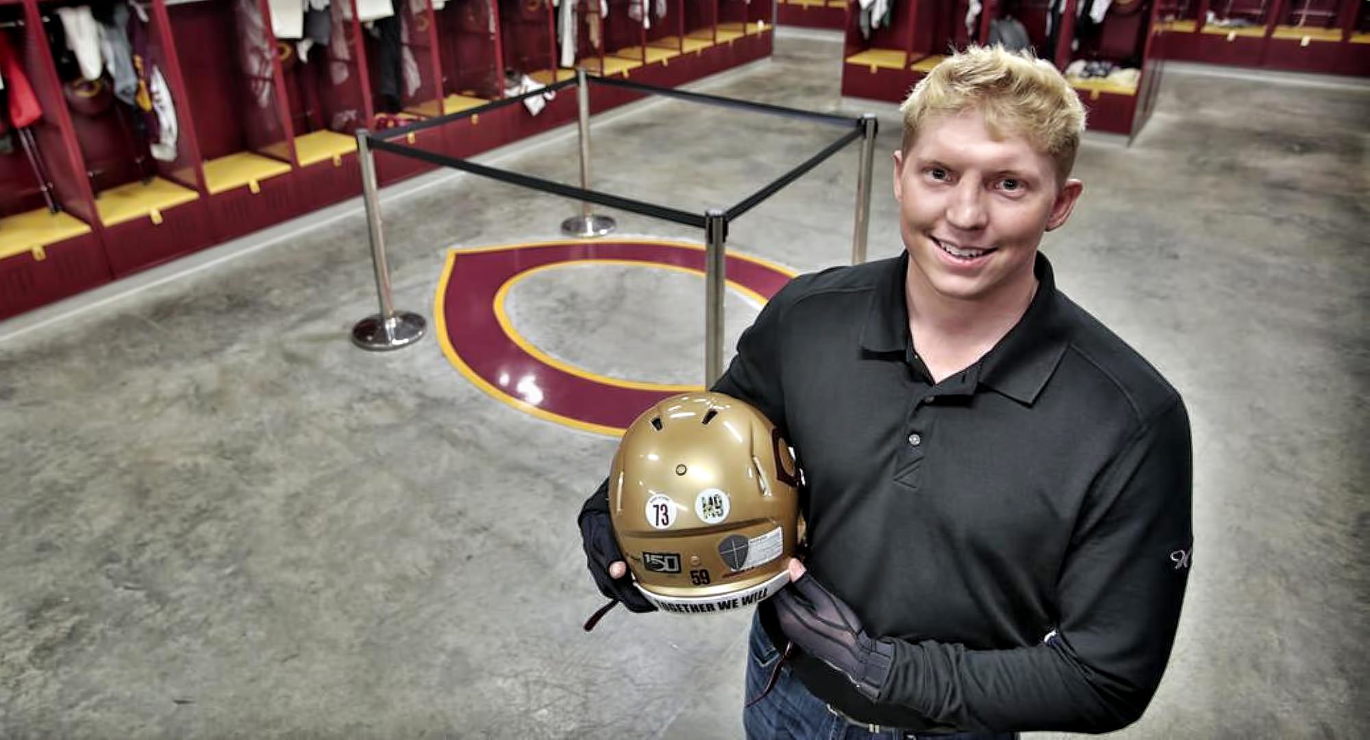 Michael Herzog visits the Cobber football locker room six months after he was involved in a serious accident. (Pic courtesy of Fargo Forum photographer Dave Samson)