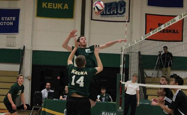 Junior Tom Campbell and the Keuka College men's volleyball team went 2-0 at the third NEAC crossover Saturday to break the school record for wins in a season (photo courtesy of Megan Chase, Keuka College Sports Information department).