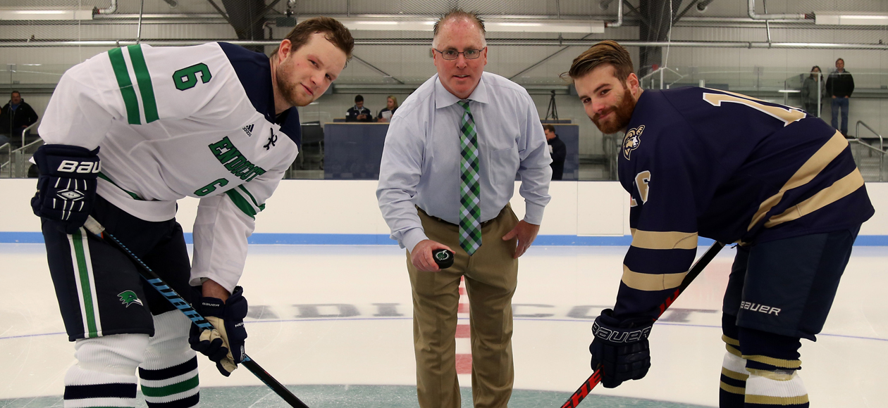Men's Ice Hockey Debuts Raymond J. Bourque Arena With 1-1 (OT) Tie Against Suffolk
