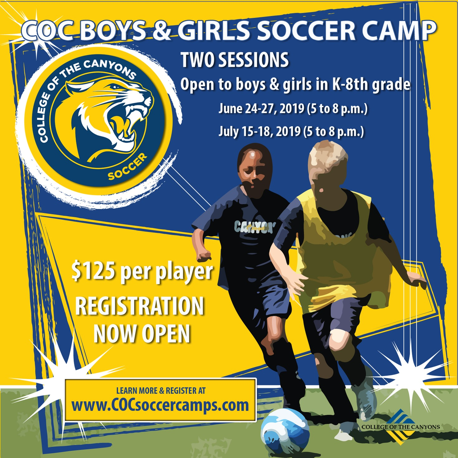 COC soccer camp promotional graphic.