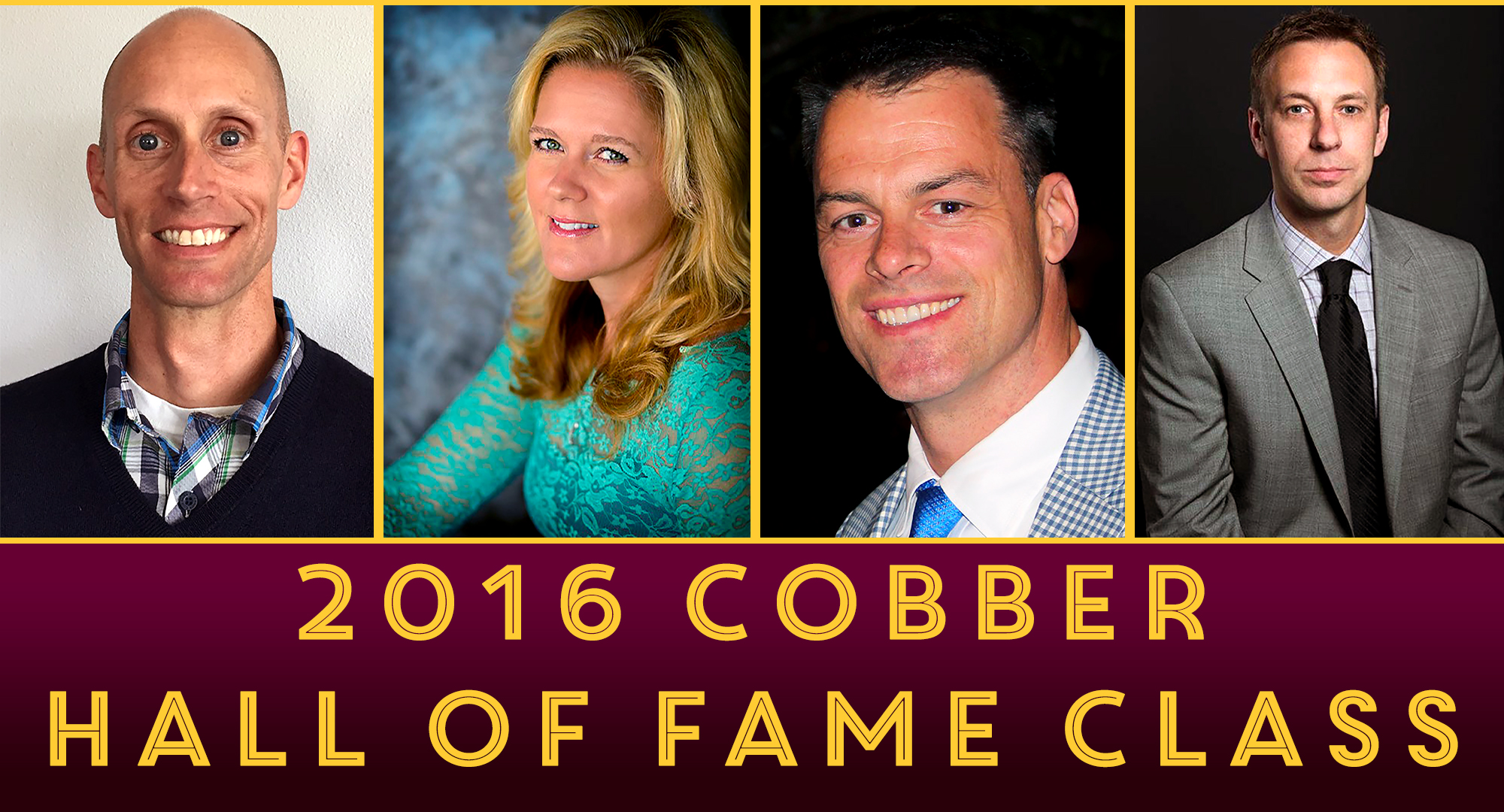 The 2016 Concordia Hall of Fame inductees are (L-R): Jason Trichler '93, Erica (Hanson) Reid '94, Marc Terris '94 and Todd Hashbarger '98.