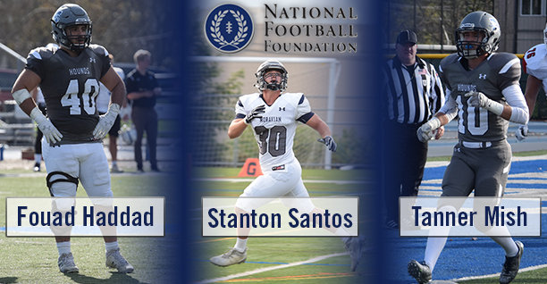 Seniors Fouad Haddad, Stanton Santos and Tanner Mish named to 2018 National Football Foundation Hampshire Honor Society.