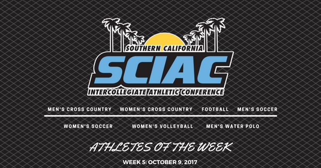 SCIAC Athletes of the Week: October 9, 2017