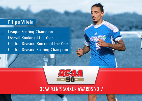 GEORGE BROWN'S FILIPE VILELA NAMED 2017 SOCCER LEAGUE SCORING CHAMPION, ROOKIE OF THE YEAR