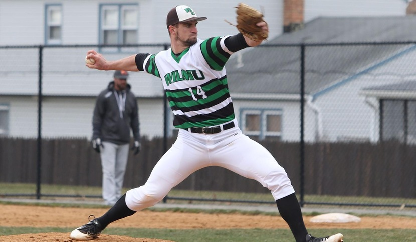 Copyright 2018; Wilmington University. All rights reserved. File photo of Brad Scull pitching against Post, taken by Frank Stallworth on March 17, 2018.