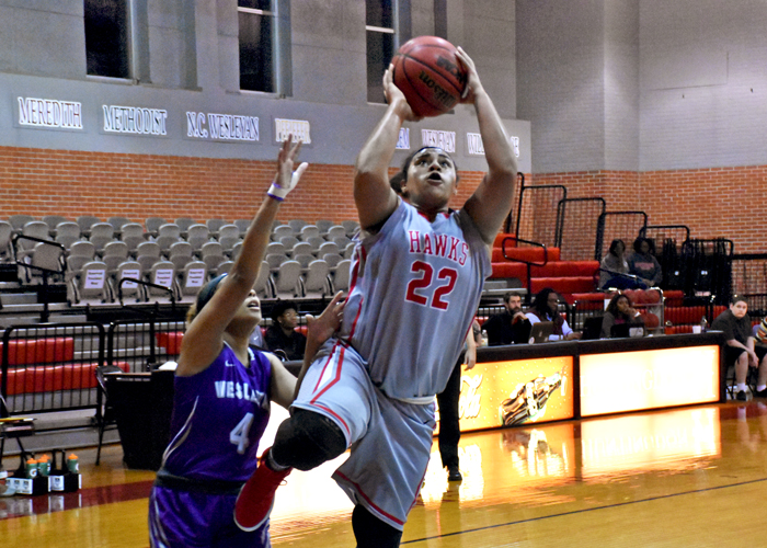 Mia Hudson recorded a double-double with 17 points and 15 rebounds in Tuesday's win over Wesleyan College.