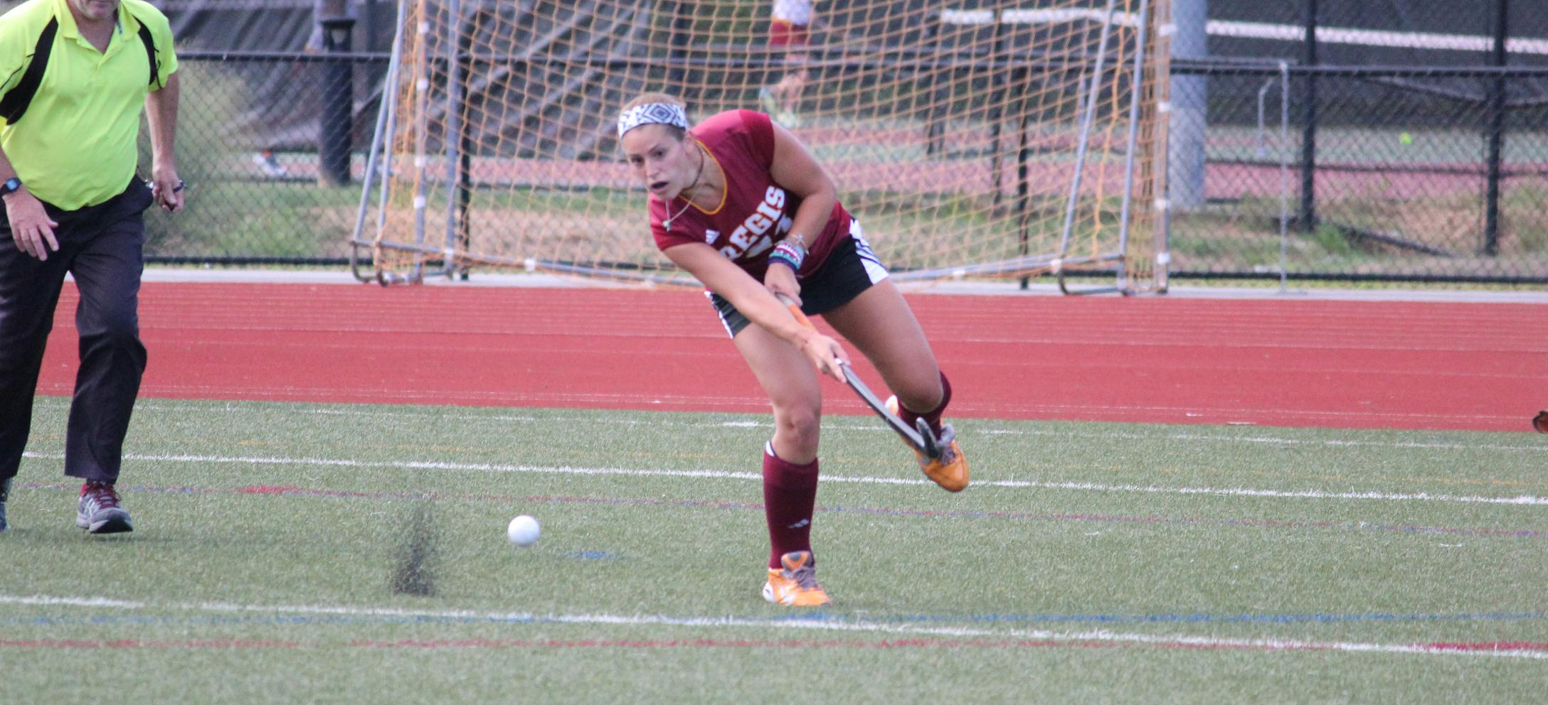 Cattaruzza Scores Two as Regis Field Hockey Shuts Out Bay Path