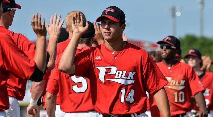 Matt Piatt and the Eagles celebrate after sweeping a doubleheader against the University of Tampa JV today.