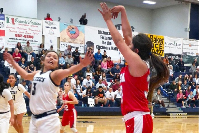 Cheyanne Begay knocks down a three-pointer at Pima Saturday afternoon. (Photo by Mard-Dog)