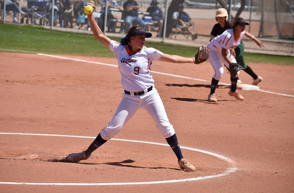 Freshman Alese Casper went 5 for 7 with five runs scored and she earned both wins on the mound (11-8) as the Aztecs softball team swept Scottsdale Community College. The Aztecs improved to 33-17 overall and 24-16 in ACCAC conference play. Photo by Ben Carbajal