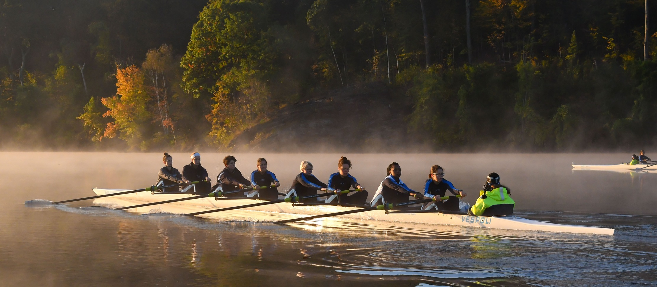 Photo of the Mount Holyoke varsity eight boat.