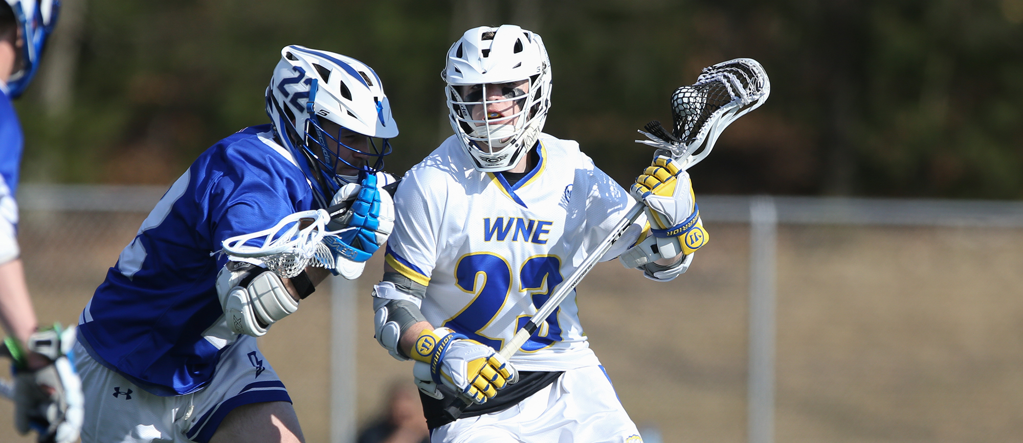 Sophomore Jared Newall scored a pair of goals in Western New England's 10-7 win over Endicott on Saturday. (Photo by Chris Marion)