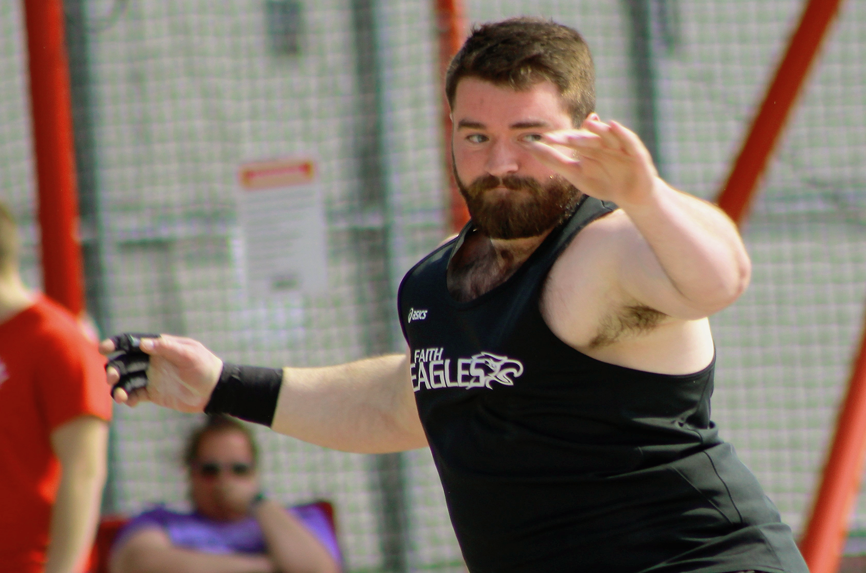 Jacob Kirkwood broke the Faith Eagles' school record with his discus throw of 46.95m