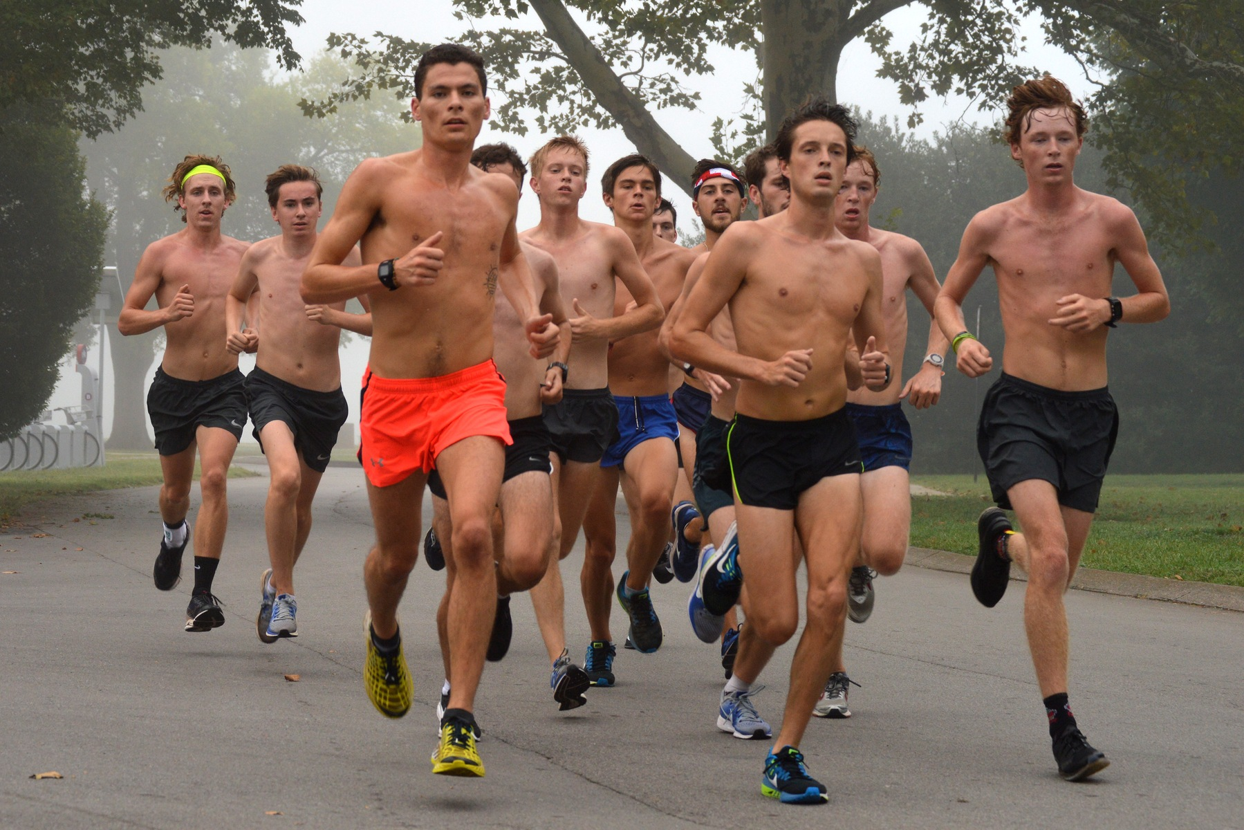 The Belmont men's cross country team runs through one of its final preseason training sessions at Centennial Park in August.