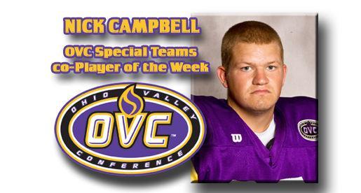 Campbell receives nod from OVC as Special Teams co-Player of the Week