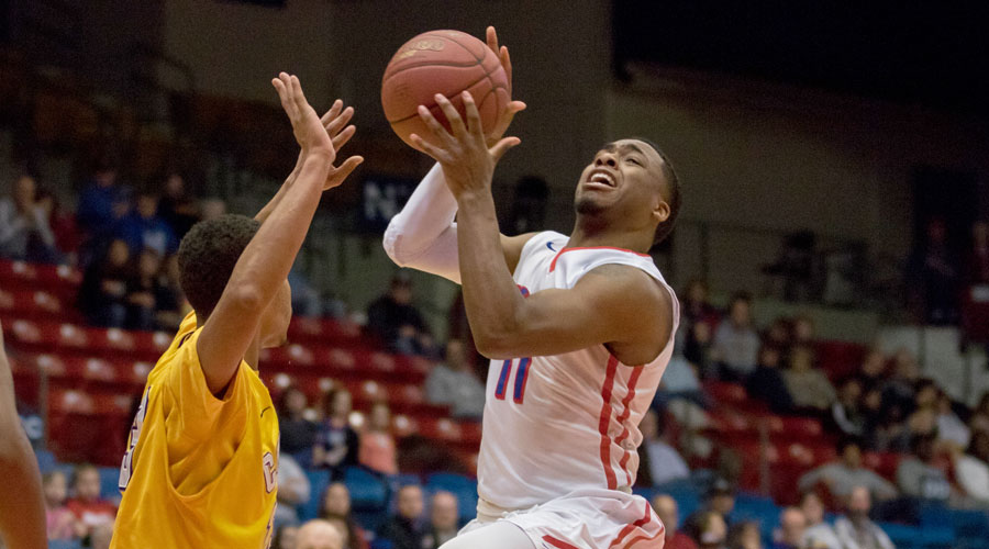 J.J. Rhymes scored 30 points in a 72-70 loss to Dodge City on Saturday at the Sports Arena. (Allie Schweizer/Blue Dragon Sports Information)
