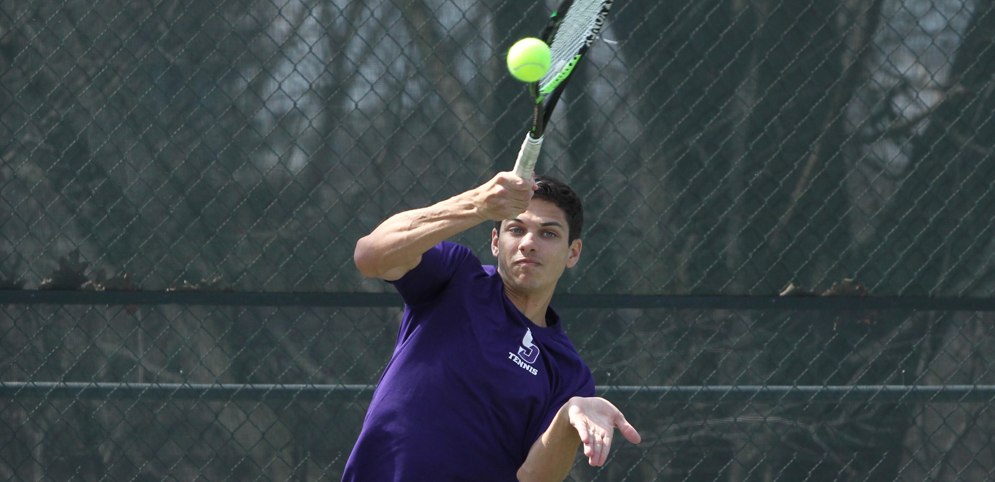 Senior Charles Swope won a pair of matches on Sunday as Scranton sent Juniata to its first loss of the season at the Royal Courts. © Photo by Timothy R. Dougherty / doubleeaglephotography.com
