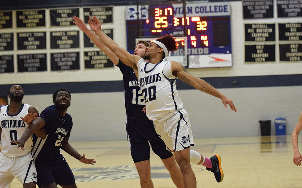 Senior C.J. Barnes drives to the basket in the first half versus Immaculata University in Johnston Hall.