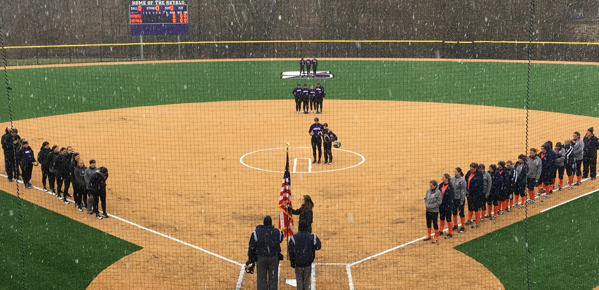 Scranton battled through snow squalls on Tuesday night to sweep a non-conference doubleheader from Keystone at Magis Field.