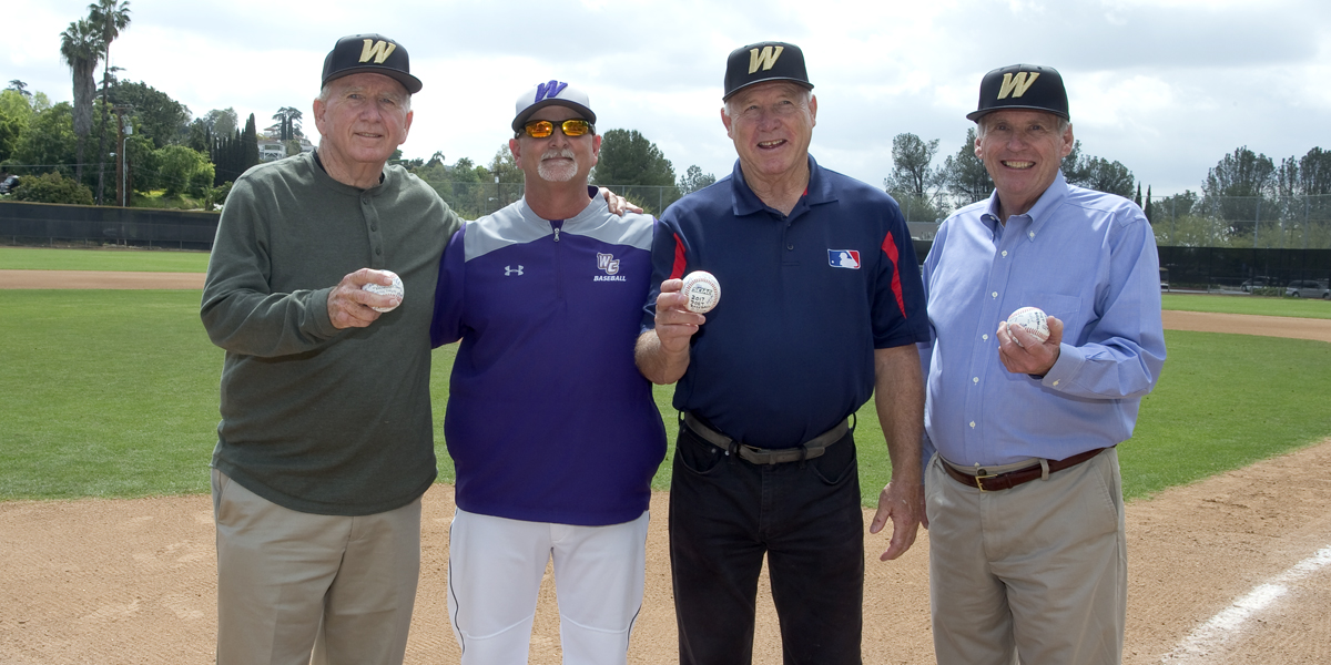Jim Colborn '67, Gary Jones '66, and Bill Pate '65 throw out Ceremonial First Pitches
