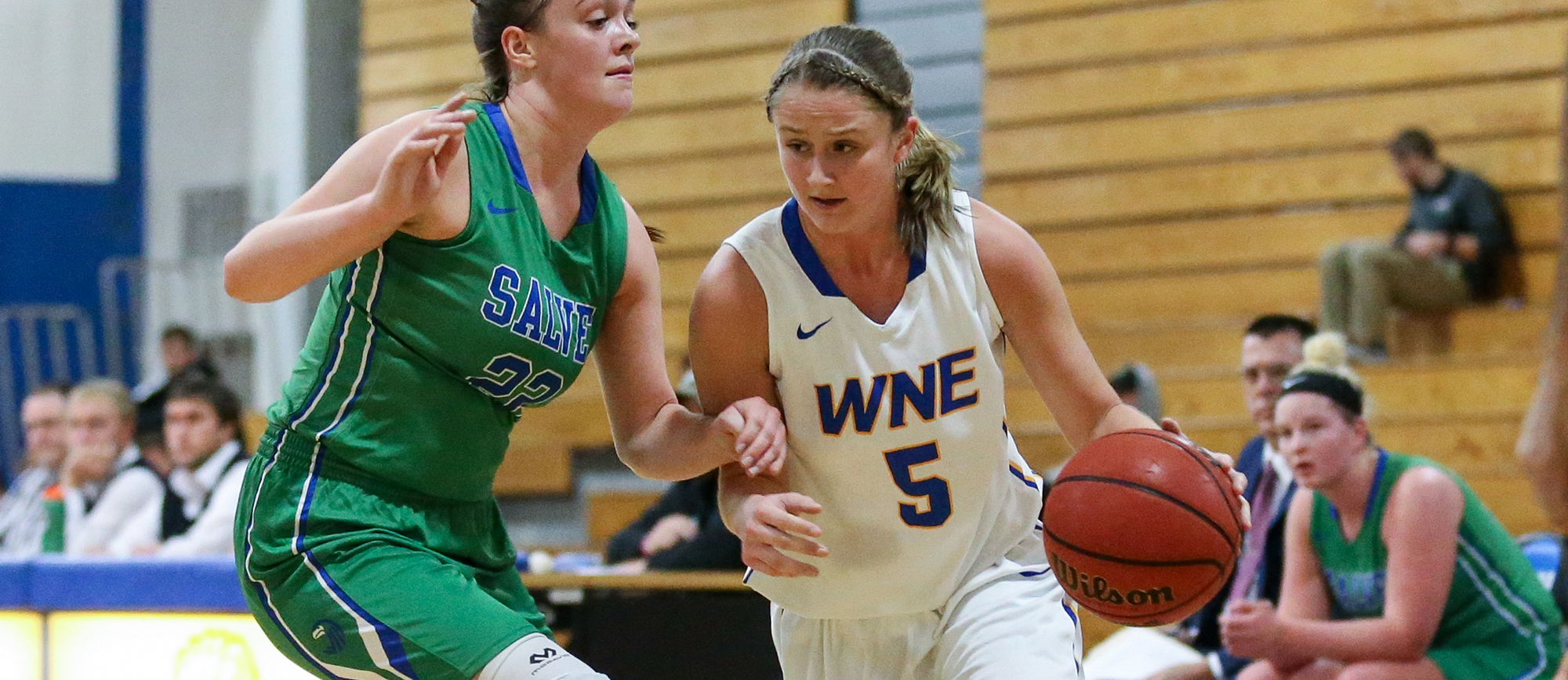 Junior Meghan Gilhool recorded 14 points, seven rebounds, two assists and one steal in Western New England's 70-62 win at UNE on Saturday (Photo by Chris Marion).