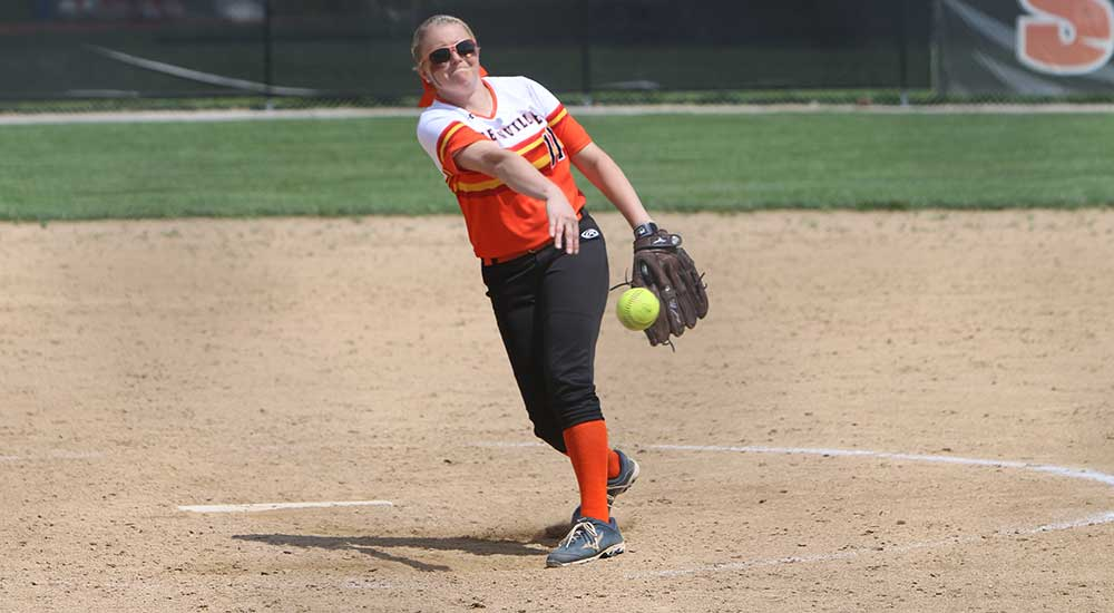 Softball splits games at Webster