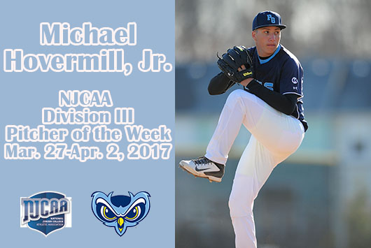 Michael Hovermill Earns NJCAA Division III Pitcher Of The Week Honors