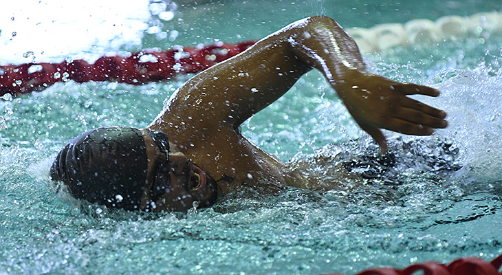 Men's Swimming Shows Strongly In Three-Team Meet